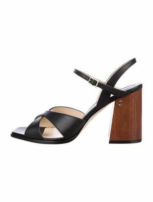 Jimmy Choo Leather Slingback Sandals Black