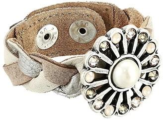 Leather Rock Paisley Bracelet (Hazel/Silver) Bracelet