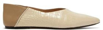 Joseph Crocodile-effect Leather Collapsible-heel Flats - Tan