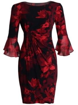 Connected Plus Size Ruffled-Sleeve Sheath Dress