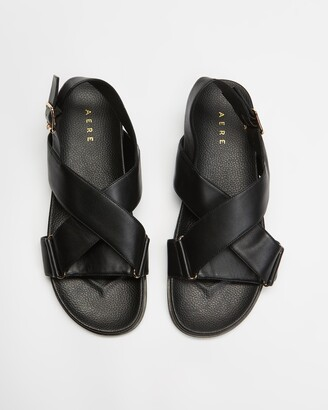 AERE - Women's Black Ballet Flats - Crossover Leather Footbed Sandals - Size 5 at The Iconic