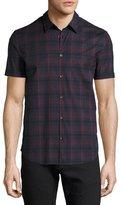 John Varvatos Plaid Short-Sleeve Sport Shirt, Navy/Red