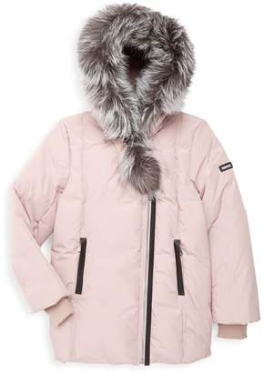 Mackage Girl's Leelee Silver Fox-Trim Down Jacket