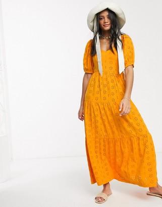ASOS DESIGN tiered broderie maxi dress in orange