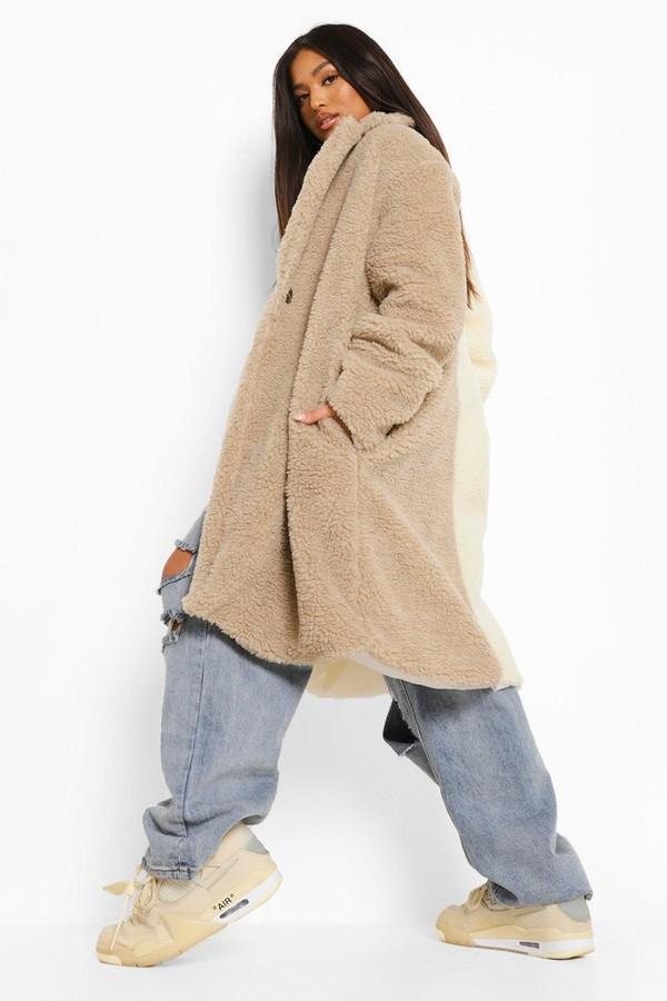 Thumbnail for your product : boohoo Petite Colourblock Longline Teddy Coat