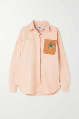 Loewe + Ken Price La Palme Leather-trimmed Denim Shirt - Pink