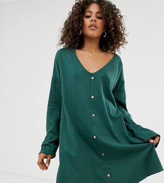Asos Tall DESIGN Tall mini button through swing dress in texture
