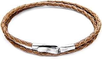 Camilla And Marc ANCHOR & CREW Unisex's Light Brown Liverpool Silver and Leather Bracelet of Length 21 cm