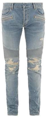 Balmain Distressed Stretch-denim Slim-leg Biker Jeans - Mens - Light Blue