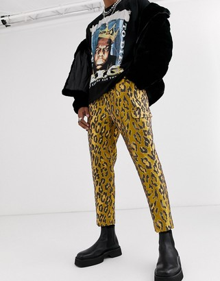ASOS EDITION tapered smart pants in leopard jacquard