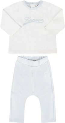 Lanvin White And Light Blue Suit For Baby Boy With Logo