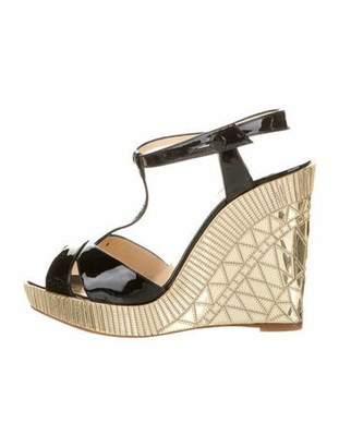 Christian Louboutin Patent Leather Printed T-Strap Sandals Black