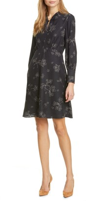 Rebecca Taylor Tailored by Floral Long Sleeve Silk Blend Dress