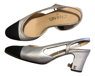 Chanel Slingback Silver Leather Heels