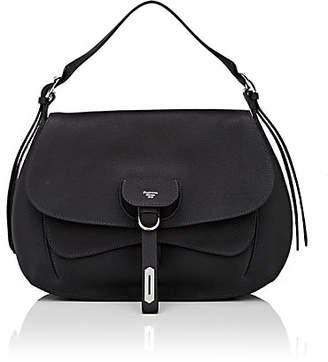 Fontana Milano Women's Wight Medium Leather Saddle Bag - Black