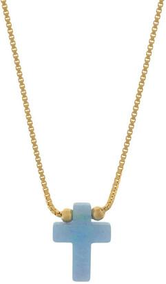Mocha Sterling Silver Mini Cross Gold Fine Necklace - Light Blue Lt