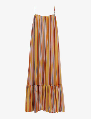 AllSaints Paola multicolour-striped crepe dress