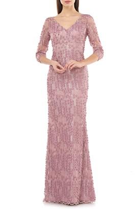 Carmen Marc Valvo 3D Petal Evening Gown
