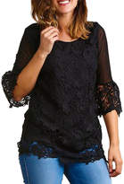 Asstd National Brand Plus Crochet Bell Sleeve Tunic