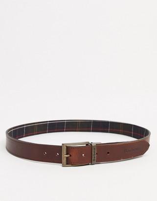 Barbour reverisble tartan leather belt in tan