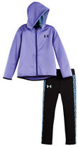 Under Armour Girls 2-6x Two-Piece Chain Grid Paneled Hoodie and Leggings Set