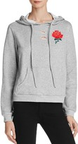 Honey Punch Distressed Embroidered Hoodie Sweatshirt