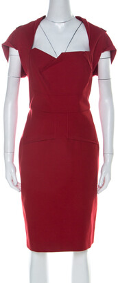 Roland Mouret Red Cotton Folded Shoulder Myrtha Sheath Dress L