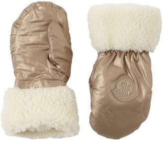 Moncler Laminated Nylon & Faux Shearling Gloves