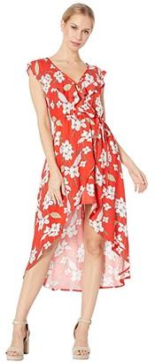 BB Dakota Giuld the Lily Printed Wrap Dress (Poppy Red) Women's Dress