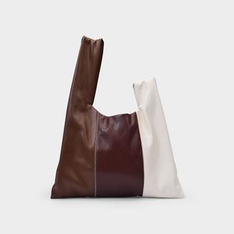 Nanushka Handbag Jen In A Patchwork Brown And White Vegan Leather