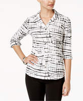 JM Collection Petite Printed Crinkle Shirt, Created for Macy's