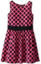 Ella Moss Polkadot Dress (Big Kids) (Fuchsia) - Apparel