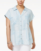 Style&Co. Style & Co Plus Size Short-Sleeve Denim Shirt, Created for Macy's