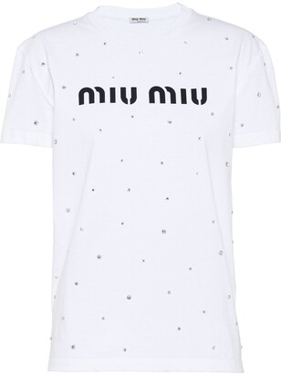 Miu Miu logo rhinestone T-shirt
