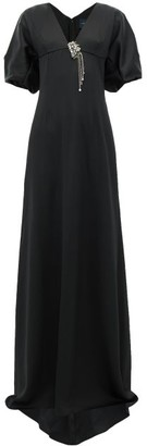 Julie De Libran - Gilda Crystal-brooch Satin Gown - Black