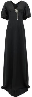 Julie De Libran - Gilda Crystal-brooch Satin Gown - Womens - Black