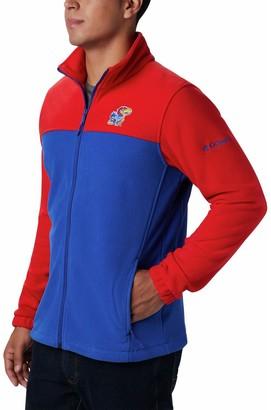 Men's Columbia Red/Royal Kansas Jayhawks Big & Tall Flanker III Fleece Full-Zip Jacket