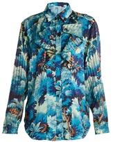 Marco De Vincenzo Painterly-print ruffle-trim satin shirt