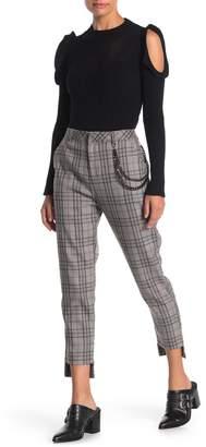 Honey Punch Step Hem Plaid Chain Pants