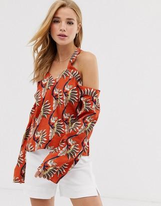 Glamorous cold shoulder blouse in leaf print-Orange