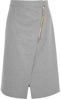 Acne Studios Wrap-effect Brushed-twill Skirt - Light gray