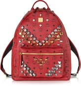 MCM Stark Ruby Red Medium Backpack w/Studs