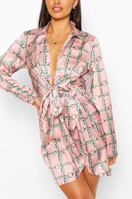 boohoo Chain Print Twist Front Shirt Dress