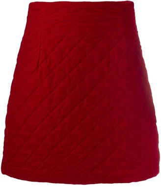 L'Autre Chose Quilted Velvet Mini Skirt