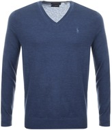 Ralph Lauren V Neck Jumper Blue