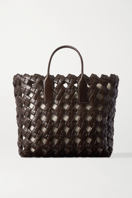 Bottega Veneta Woven Leather Tote - Dark brown