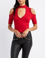 Charlotte Russe Ribbed Mock Neck Cold Shoulder Top