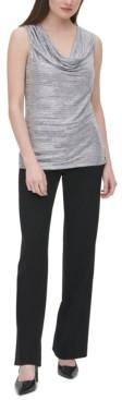 Calvin Klein Metallic Draped Sleeveless Top