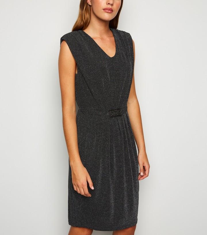 New Look Mela Glitter Belted Dress