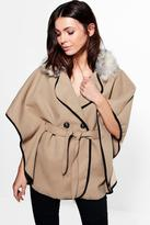 Boohoo Lucy Faux Fur Collar Cape